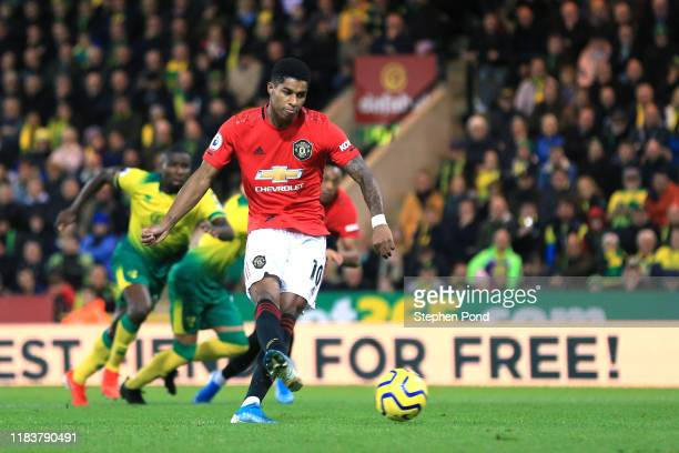 Marcus Rashford of Manchester United takes and misses his sides first penalty during the Premier League match between Norwich City and Manchester...