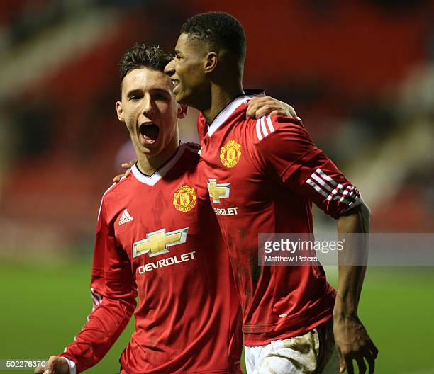 Marcus Rashford of Manchester United U18s celebrates scoring their second goal during the FA Youth Cup third round match between Manchester United...