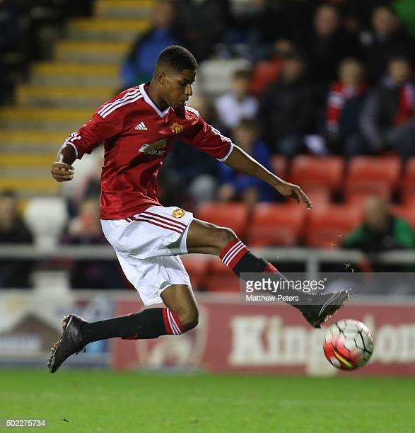 Marcus Rashford of Manchester United U18s in action during the FA Youth Cup third round match between Manchester United U18s and Queens Park Rangers...