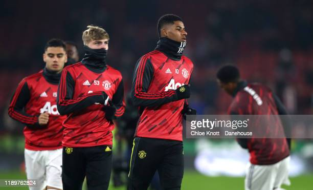 Marcus Rashford of Manchester United warms up ahead of the Premier League match between Sheffield United and Manchester United at Bramall Lane on...