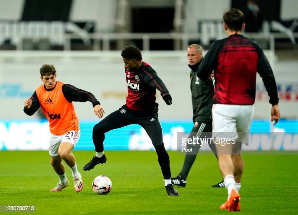 Marcus Rashford of Manchester United warms up prior to the Premier League match between Newcastle United and Manchester United at St James Park on...