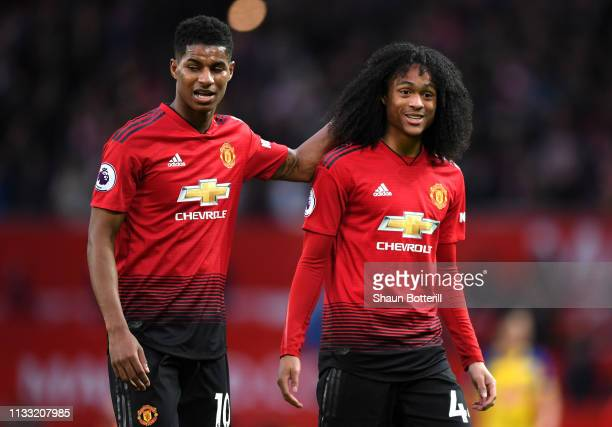 Marcus Rashford of Manchster United celebrates victory with Tahith Chong of Manchester United after the Premier League match between Manchester...
