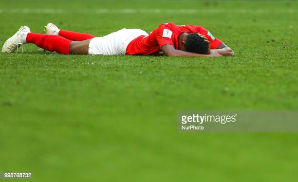 Marcus Rashford of the England national football team reacts during the 2018 FIFA World Cup Russia 3rd Place Playoff match between Belgium and...