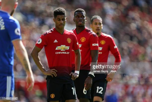 Marcus Rashford Paul Pogba and Chris Smalling of Manchester United during the Premier League match between Manchester United and Cardiff City at Old...