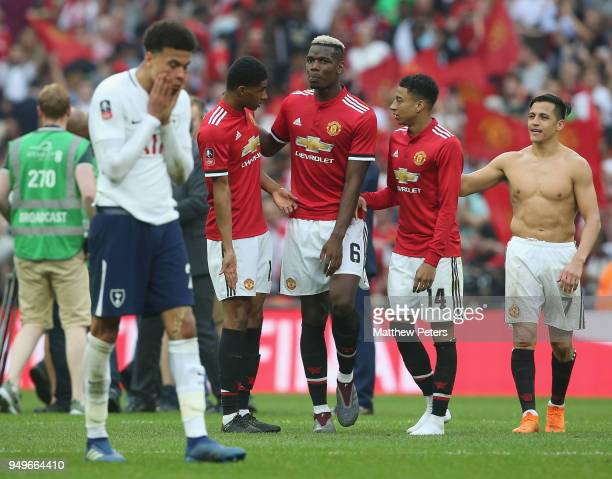 Marcus Rashford Paul Pogba Jesse Lingard and Alexis Sanchez of Manchester United celebrate after the Emirates FA Cup semifinal match between...