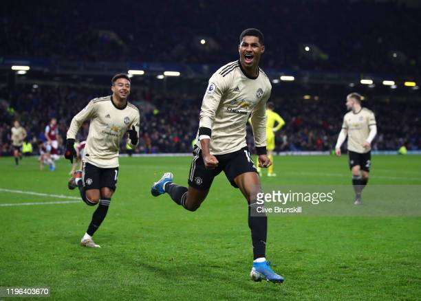 Marcus Rashord of Manchester United celebrates after scoring the second goal during the Premier League match between Burnley FC and Manchester United...
