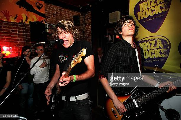 Marcus Ratcliff and Davo McConville of Pull Tiger Tail performs at the Ibiza Rocks with Sony Ericsson launch party at The Lock Tavern Camden on May...