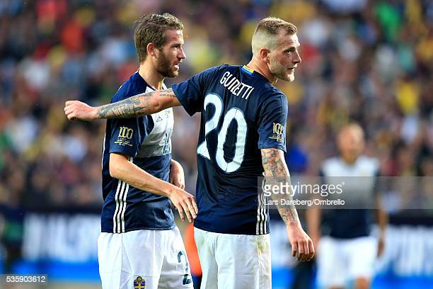 Marcus Rohdén of Sweden and John Guidetti of Sweden during the international friendly match between Sweden and Slovenia on May 30 2016 in Malmo Sweden