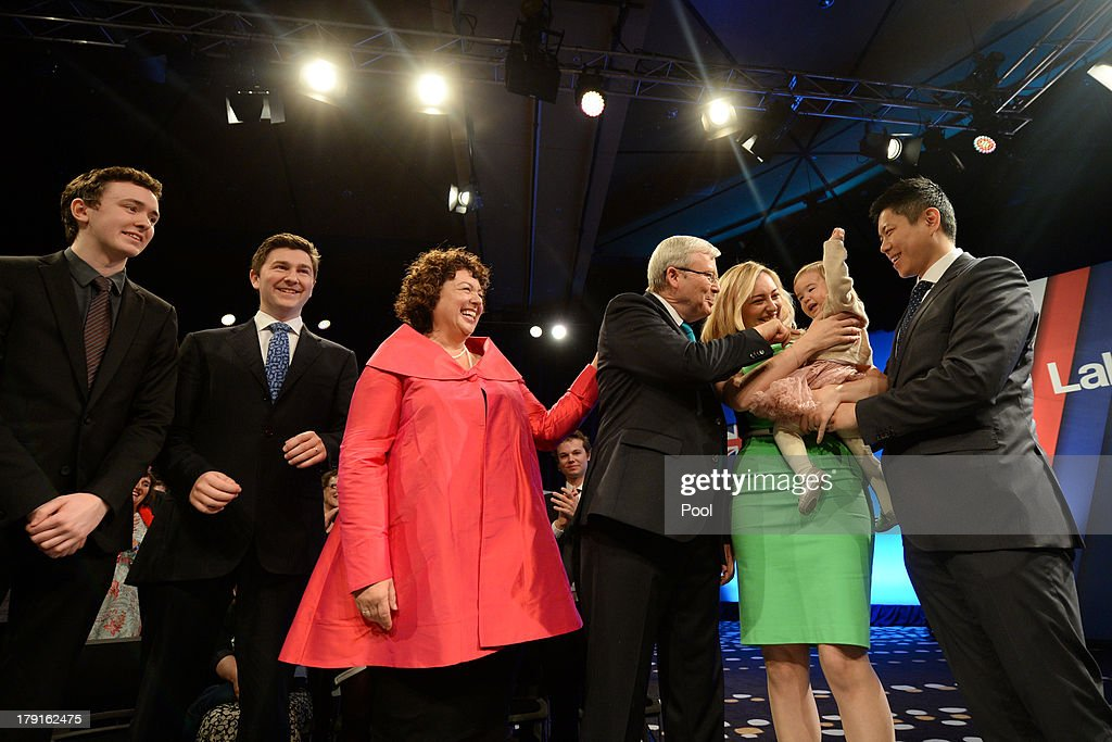 Marcus Rudd, Nicholas Rudd, Therese Rein, Prime Minister Kevin Rudd, Jessica Rudd, Josephine Tse and Albert Tse smile after the Labor party campaign launch at the Brisbane Convention and Exhibition Centre on September 1, 2013 in Brisbane, Australia. The incumbent centre-left Australian Labor Party has trailed the conservative Liberal-National Party coalition for the first four weeks of the campaign, and most pollsters give them little hope of retaining government. Australians head to the polls this Saturday, September 7.