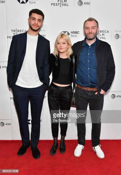 Marcus Rutherford Sophie Kennedy Clark and Director Jamie Jones attend a screening of 'Obey' during the 2018 Tribeca Film Festival at Cinepolis...
