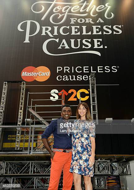 Marcus Samuelsson and Bree Turner join MasterCard and Stand Up To Cancer Launch The Priceless Table in Times Square on July 16 2014 in New York City