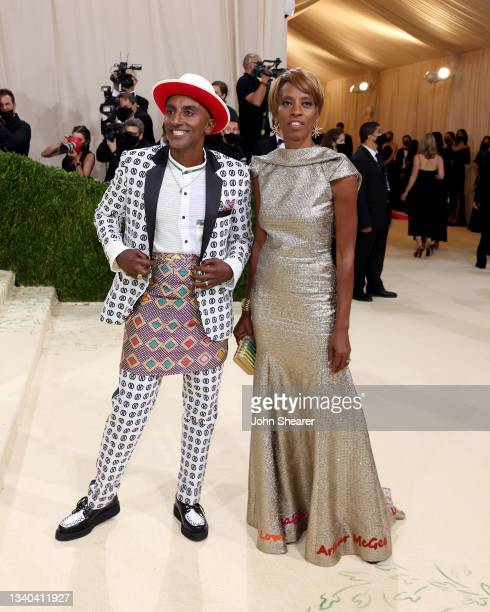 Marcus Samuelsson and guest attend The 2021 Met Gala Celebrating In America: A Lexicon Of Fashion at Metropolitan Museum of Art on September 13, 2021...