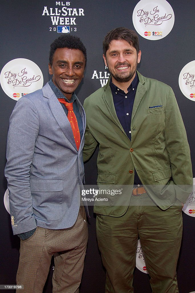 Marcus Samuelsson and Ludo Lefebvre attend MLB Fan Cave 'Dig In And Do Good' Event at MLB Fan Cave on July 11, 2013 in New York City.
