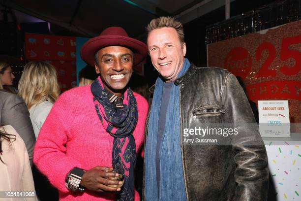 Marcus Samuelsson and Marc Murphy attend Food Network's 25th Birthday Party Celebration at the 11th annual New York City Wine Food Festival at Pier...