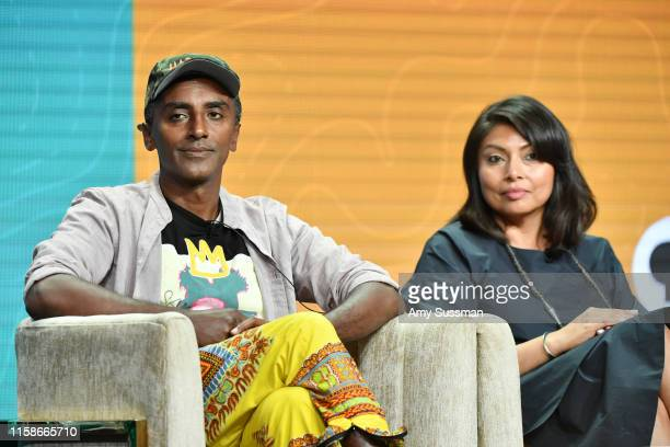 Marcus Samuelsson and Pamela A Aguilar of No Passport Required and South By Somewhere speak during the 2019 Summer TCA press tour at The Beverly...