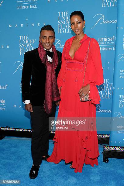 Marcus Samuelsson and wife Maya Haile attend the 12th annual UNICEF Snowflake Ball at Cipriani Wall Street on November 29 2016 in New York City