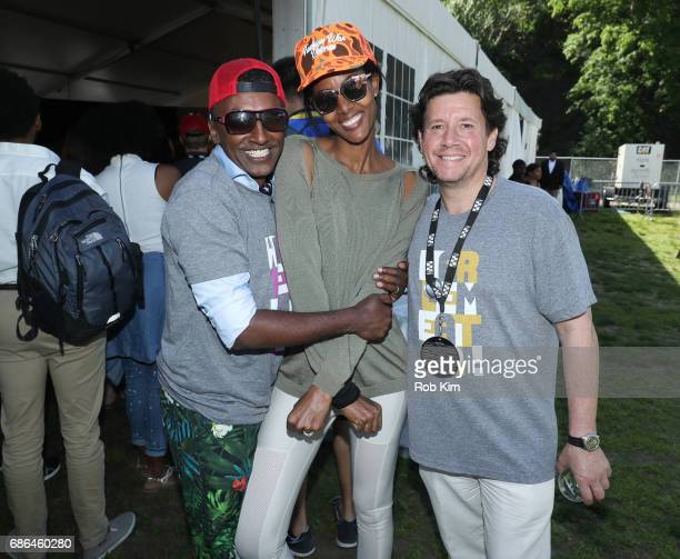 Marcus Samuelsson his wife Gate Haile and Herb Karlitz attend Harlem EatUp's Third Annual Festival Weekend at Morningside Park on May 21 2017 in New...