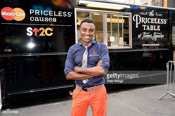 Marcus Samuelsson hosts the first dinner at MasterCards Priceless Table where for a limited time cardholders can help Stand Up To Cancer when sitting...