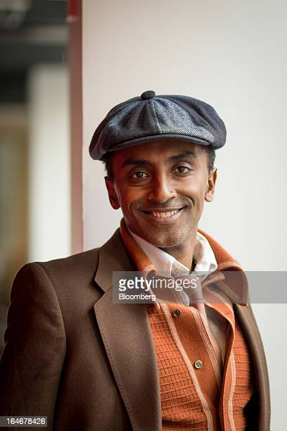 Marcus Samuelsson owner and chef of Red Rooster Harlem and author of Yes Chef A Memoir poses for a portrait at the Bloomberg office in New York US on...