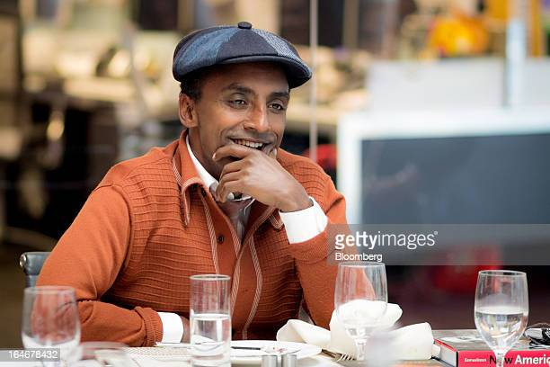Marcus Samuelsson owner and chef of Red Rooster Harlem and author of Yes Chef A Memoir attends a meeting with members of Bloomberg's muse arts and...