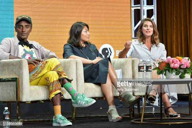 Marcus Samuelsson Pamela A Aguilar and Vivian Howard of No Passport Required and South By Somewhere speak during the 2019 Summer TCA press tour at...