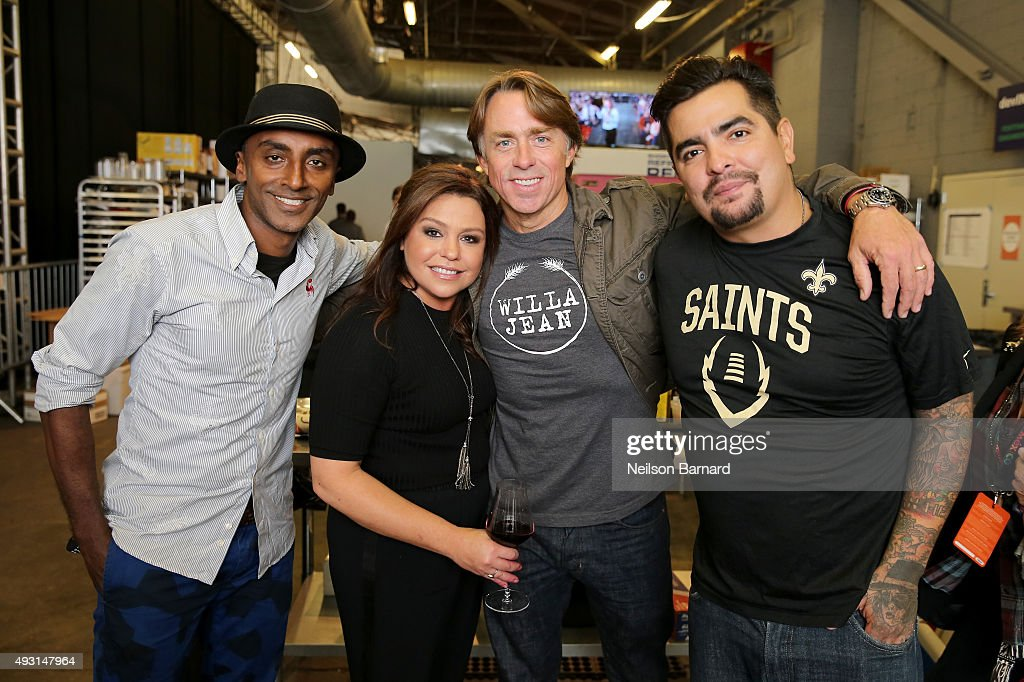Marcus Samuelsson, Rachael Ray, John Besh and Aaron Sanchez attend the Grand Tasting presented by ShopRite featuring Samsung culinary demonstrations presented by MasterCard - Food Network & Cooking Channel New York City Wine & Food Festival presented by FOOD & WINE at Pier 94 on October 17, 2015 in New York City.
