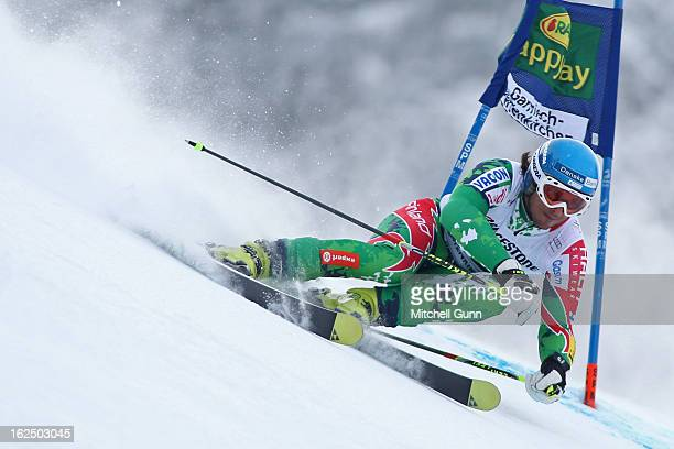 Marcus Sandell of Finland races down the course whilst competing in the Audi FIS Alpine Ski World Cup Men's Giant Slalom on February 24 2013 in...