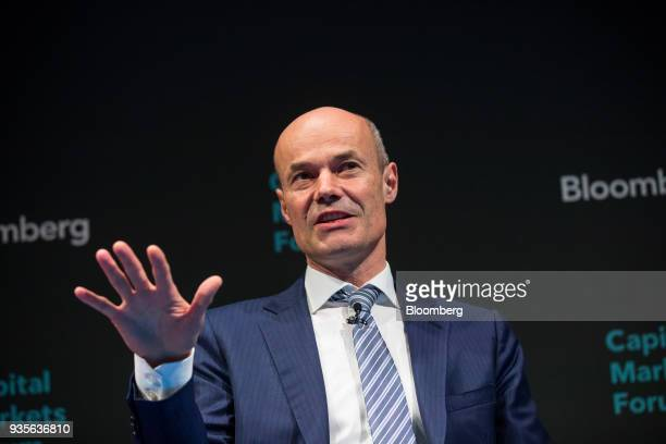 Marcus Schenck deputy chief executive officer of Deutsche Bank AG gestures while taking part in a panel discussion during the European Capital...
