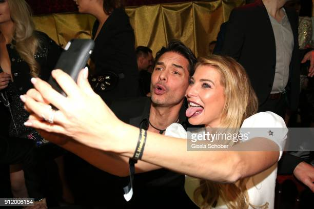 Marcus Schenkenberg Giulia Siegel take a selfie during the 20th Lambertz Monday Night 2018 at Alter Wartesaal on January 29 2018 in Cologne Germany