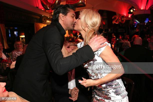 Marcus Schenkenberg greets his former girlfriend Pamela Anderson during the 20th Lambertz Monday Night 2018 at Alter Wartesaal on January 29 2018 in...