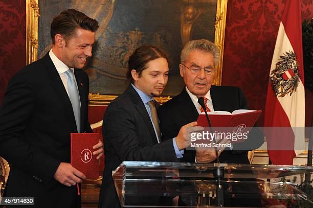 Marcus Schober Manuel Gras and Heinz Fischer speak to the audience during a press preview 'Hofburg Ein Stueck Geschichte' at Hofburg Vienna on...