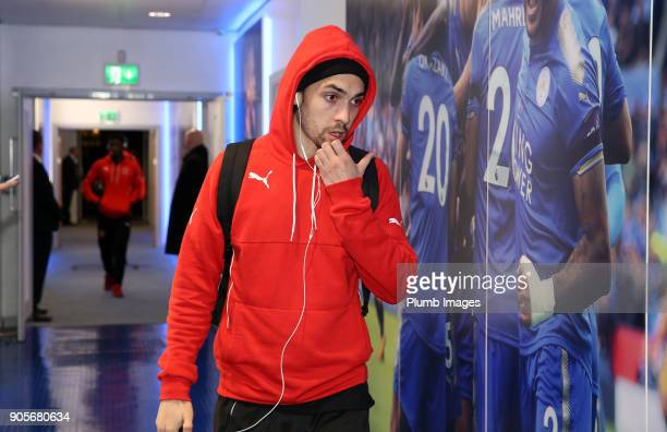 Marcus Schwabl of Fleetwood Town arrives at King Power Stadium ahead of The Emirates FA Cup Third Round Replay between Leicester City and Fleetwood...