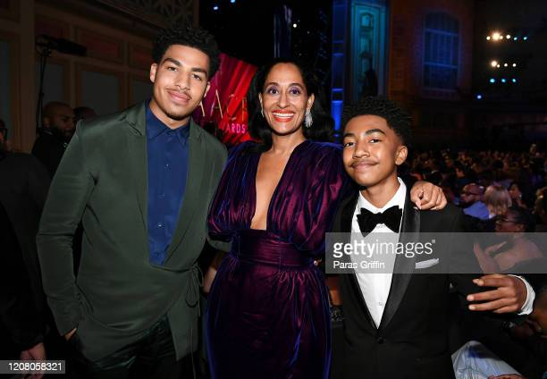 Marcus Scribner Tracee Ellis Ross and Miles Brown attend the 51st NAACP Image Awards Presented by BET at Pasadena Civic Auditorium on February 22...