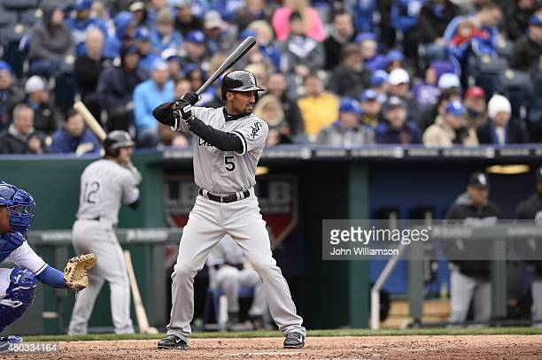Marcus Semien of the Chicago White Sox bats during the game against the Kansas City Royals on Friday April 4 2014 at Kauffman Stadium in Kansas City...