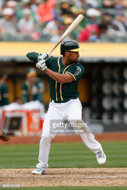 Marcus Semien of the Oakland Athletics at bat in the seventh inning against the Seattle Mariners at Oakland Alameda Coliseum on August 9 2017 in...