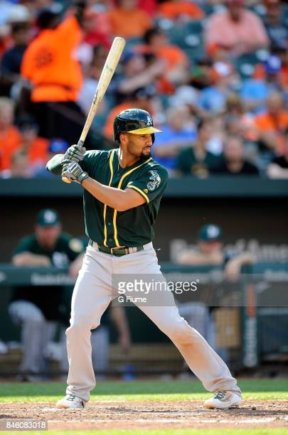 Marcus Semien of the Oakland Athletics bats against the Baltimore Orioles at Oriole Park at Camden Yards on August 23 2017 in Baltimore Maryland