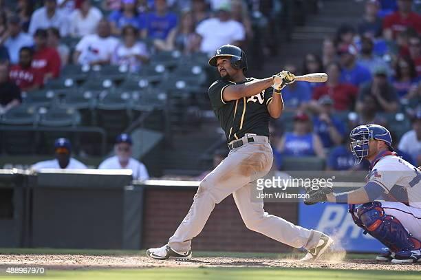 Marcus Semien of the Oakland Athletics bats against the Texas Rangers at Globe Life Park in Arlington on September 13 2015 in Arlington Texas The...