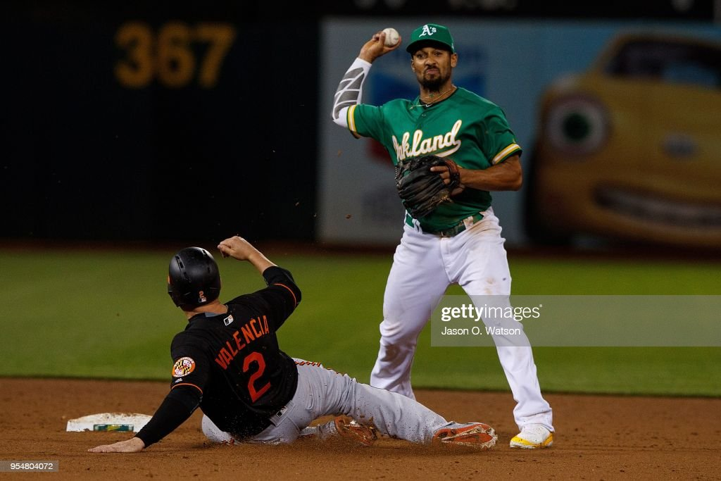 Marcus Semien #10 of the Oakland Athletics completes a double play over Danny Valencia #2 of the Baltimore Orioles during the sixth inning at the Oakland Coliseum on May 4, 2018 in Oakland, California. The Oakland Athletics defeated the Baltimore Orioles 6-4.