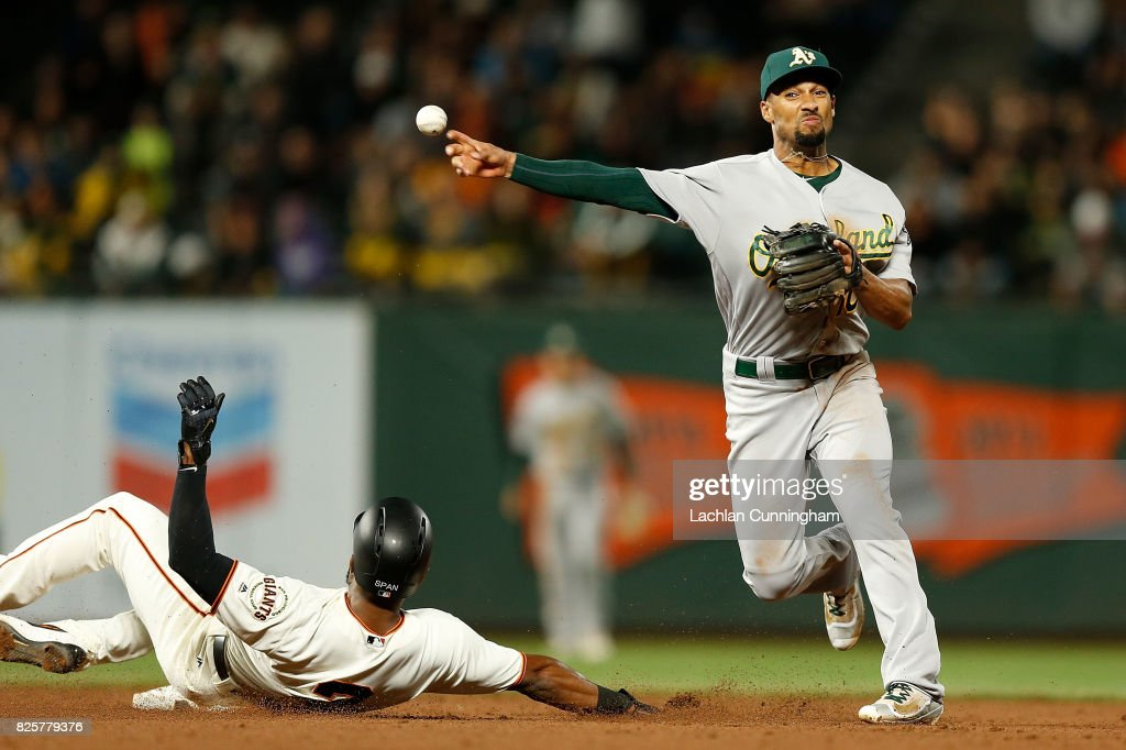 Marcus Semien #10 of the Oakland Athletics gets the out of Denard Span #2 of the San Francisco Giants in a double play in the eighth inning during an interleague game at AT&T Park on August 2, 2017 in San Francisco, California.