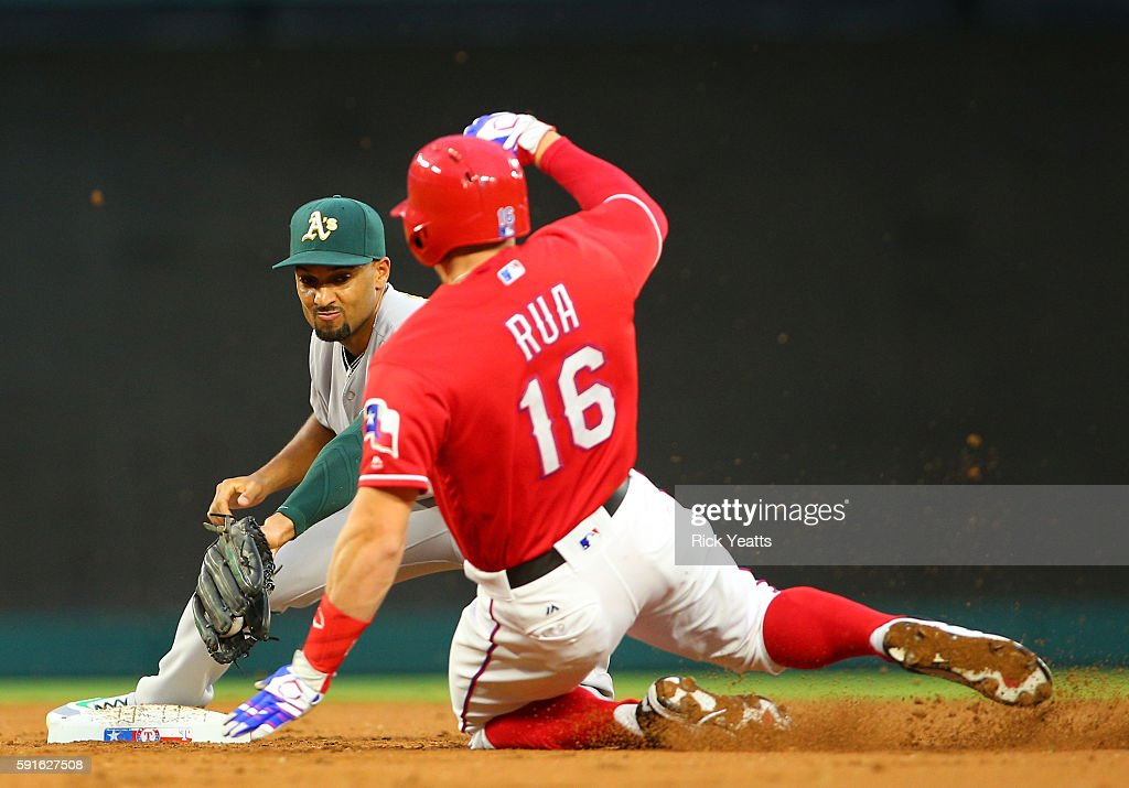 Marcus Semien #10 of the Oakland Athletics makes the out on Ryan Rua #16 of the Texas Rangers on second base in the second inning at Globe Life Park in Arlington on August 17, 2016 in Arlington, Texas.