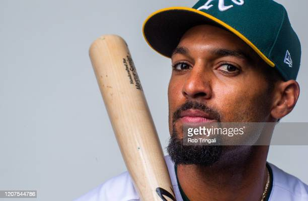 Marcus Semien of the Oakland Athletics poses for a portrait at the Oakland Athletics Spring Training Facility at Hohokam Stadium on February 20 2020...