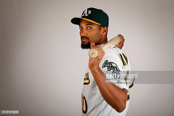 Marcus Semien of the Oakland Athletics poses for a portrait during the spring training photo day at HoHoKam Stadium on February 29 2016 in Mesa...