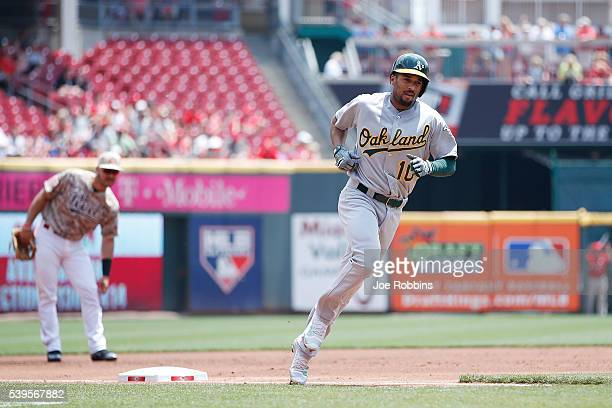 Marcus Semien of the Oakland Athletics rounds the bases after a tworun home run against the Cincinnati Reds in the second inning of the game at Great...