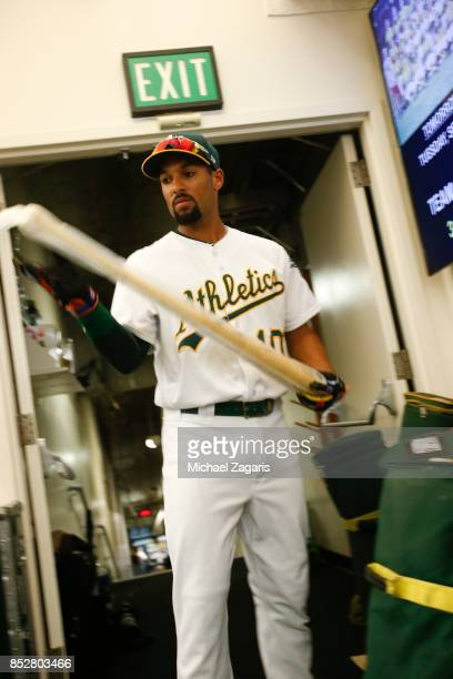 Marcus Semien of the Oakland Athletics stands in the clubhouse prior to the game against the Los Angeles Angels of Anaheim at the Oakland Alameda...
