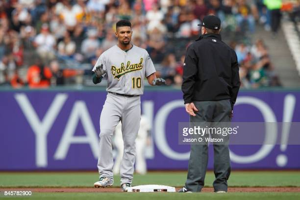 Marcus Semien of the Oakland Athletics stands on second base against the San Francisco Giants during the first inning at ATT Park on August 3 2017 in...