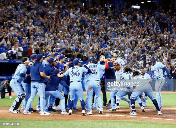 Marcus Semien of the Toronto Blue Jays runs towards home plate where his teammates wait to mob him after hitting a walk-off home run in the ninth...