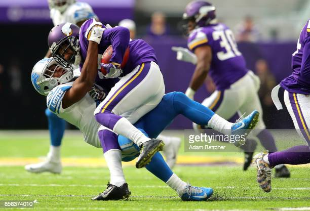 Marcus Sherels of the Minnesota Vikings is tackled with the ball in the second half of the game against the Detroit Lions on October 1 2017 at US...