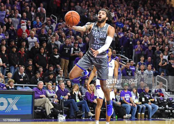 Marcus Simonds of the Georgia State Panthers drives in for a lay up during the first half against the Kansas State Wildcats on December 15 2018 at...