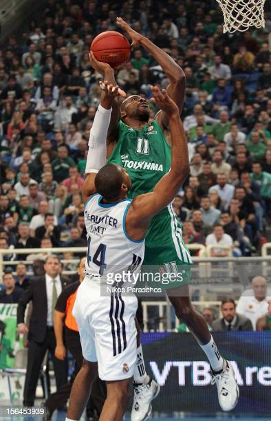 Marcus Slaughter #44 of Real Madrid competes with Stephane Lasme #11 of Panathinaikos Athens during the 20122013 Turkish Airlines Euroleague Regular...