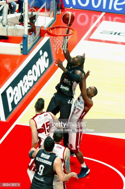 Marcus Slaughter and Alessandro Gentile of Segafredo competes with Dairis Bertans and Vladimir Micov and Andrew Goudelock of EA7 during the LBA...